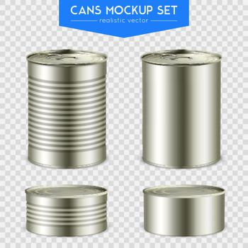 Realistic Cylindrical Cans Mockup Set