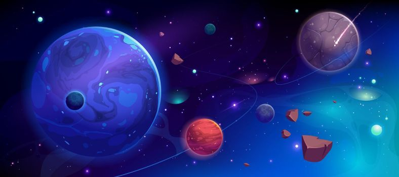 Planets in outer space with satellites and meteors