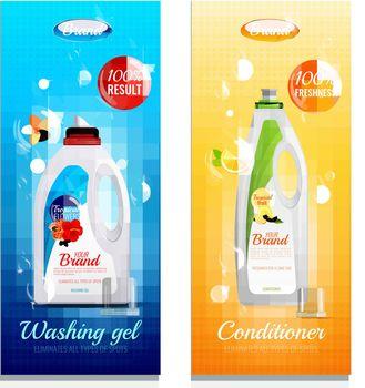 Detergents Clothes Vertical Banner Set