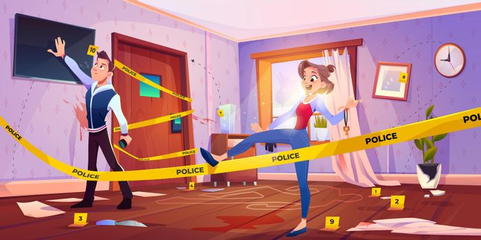 Man and girl in quest escape room with crime scene