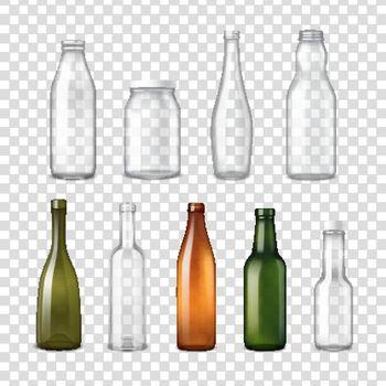 Realistic Glass Bottles Transparent Set