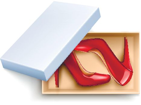 Shoes In Box Realistic Set