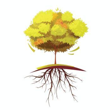 Tree With Root Retro Cartoon Illustration