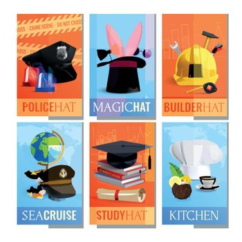 Different Professions Hats Cards Set