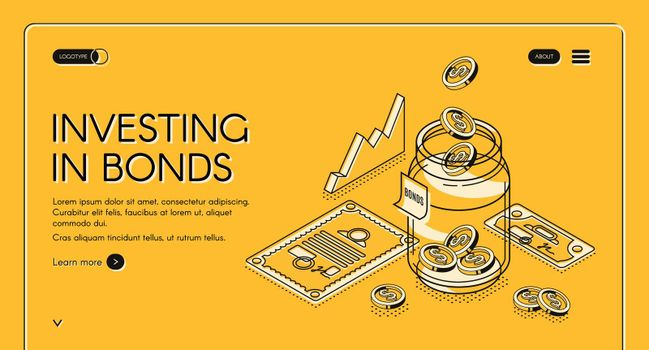 Investing in bonds isometric landing page, banner