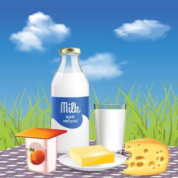 Milk Dairy Realistic Advertisement
