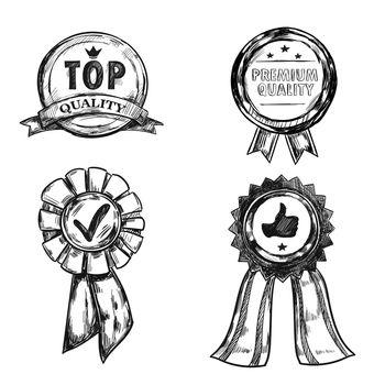 Drawing Quality Medal Emblem Set
