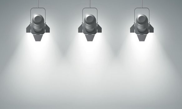 Realistic Hanging Spotlights Composition