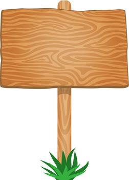 Single Empty Wood Signboard
