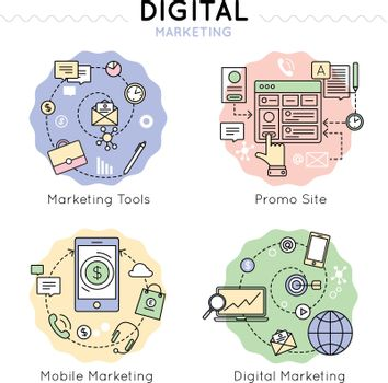 Digital Marketing Colored Icon Set