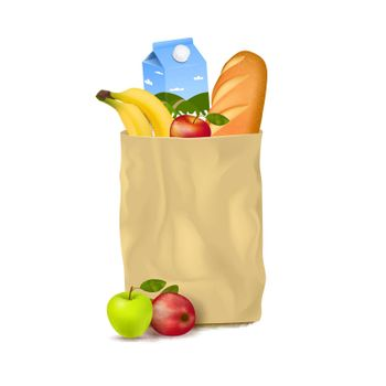 Slim Paper Bag With Supermarket Products