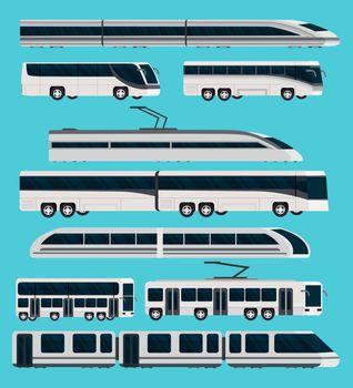 Public Transport Orthogonal Icons Set
