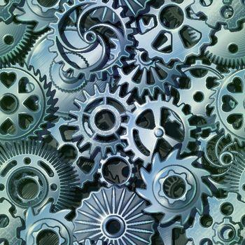 Silver Metal Gears Pattern