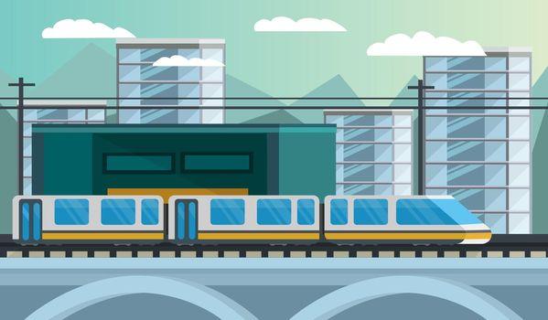 Railway Transport Orthogonal Illustration