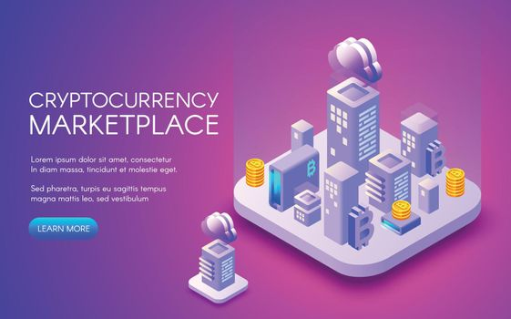 Cryptocurrency bitcoin marketplace vector illustration