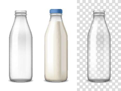 Milk Glass Bottles Realistic Set