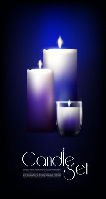Realistic Glowing Candles Set