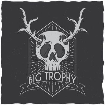 Skull with deer horns t-shirt label design.
