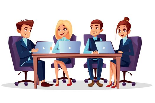 Vector cartoon business meeting, conference