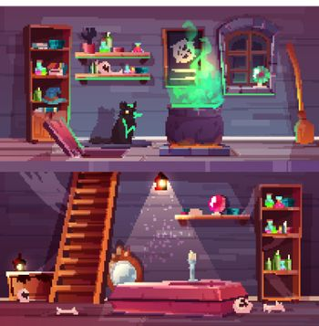 Vector quest background of witch house, cellar