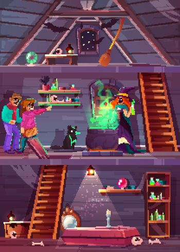 Vector quest game background. Witch house, players