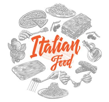 Sketch Italian Food Elements Collection
