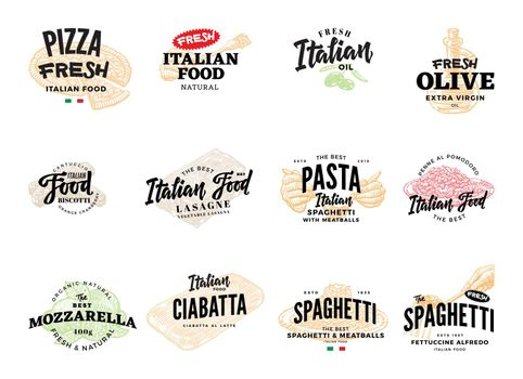Sketch Italian Food Logotypes Collection