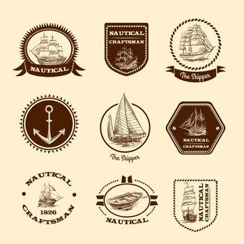 Sketch nautical emblems