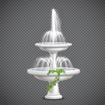 Cascade Water Fountain Realistic Transparent