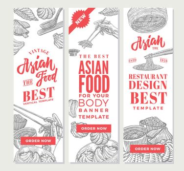 Sketch Asian Food Vertical Banners