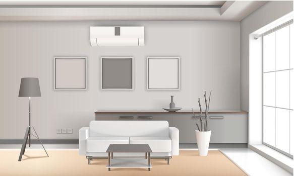 Realistic Lounge Interior In Light Tones