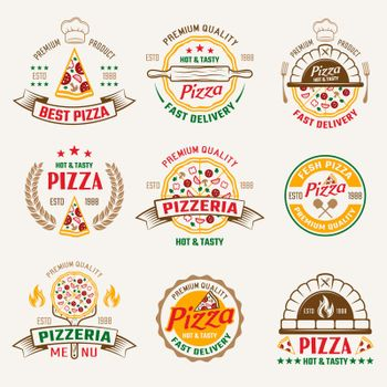 Pizzeria Colored Emblems