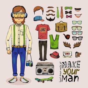 sketch male hipster set