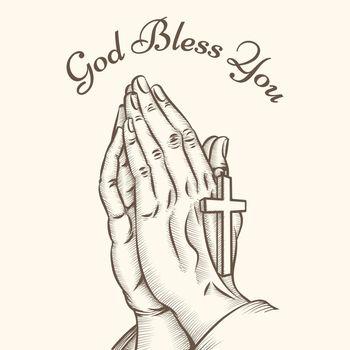 Prayer hand with cross