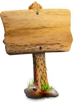 Single Blank Wooden Signpost