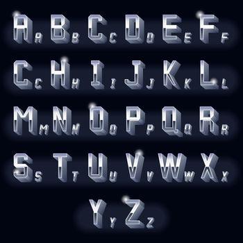 Metal vintage volumetric 3d chrome letters