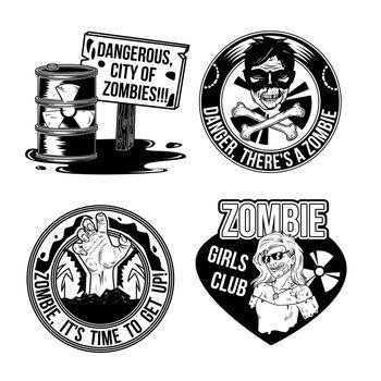 Set of zombie emblems, labels, badges, logos. Isolated on white