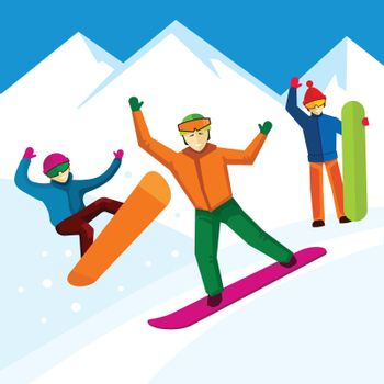 Snowboarder vector character in flat style