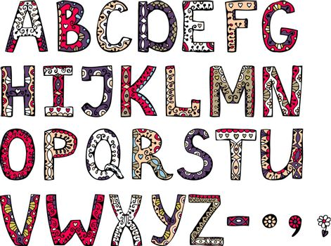 hand drawn vector ornamental alphabet