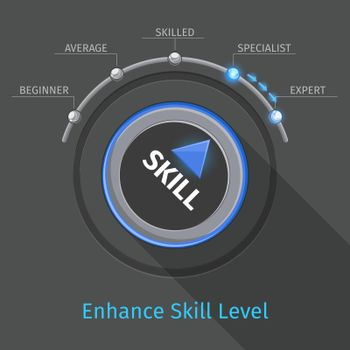 Skill levels vector knob button or switch