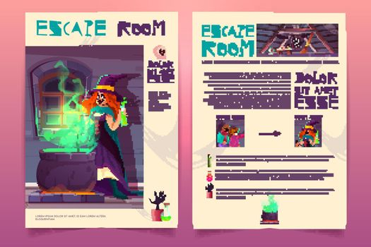 Vector quest game brochure. Witch house escape