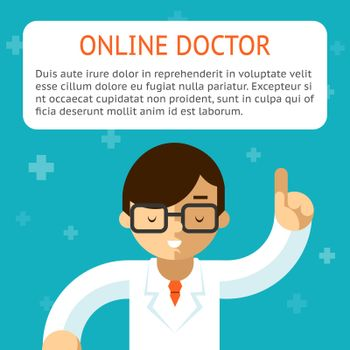 Doctor online vector illustration