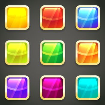Set of vibrant bright glossy web buttons