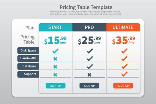 Pricing Table Template Graphic Design