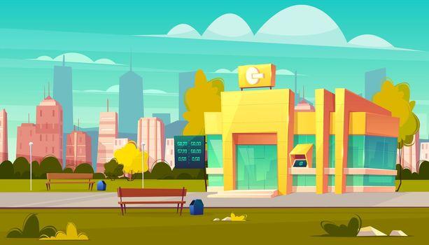 Modern city bank office building cartoon vector