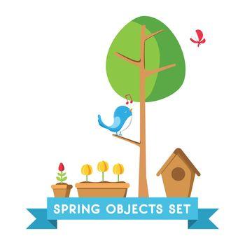 Design Spring Objects Set Poster