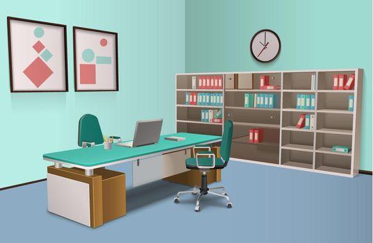 Realistic Office Interior Big Boss