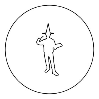 Wizard holds magic wand trick book Waving Sorcery concept Magician Sorcerer Fantasy person Warlock man in robe with magical stick Witchcraft in hat mantle Mage conjure Mystery idea Enchantment silhouette in circle round black color vector illustration contour outline style image