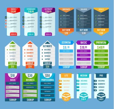 Pricing Table Templates Set