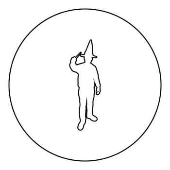 Wizard holds magic wand trick Waving Sorcery concept Magician Sorcerer Fantasy person Warlock man in robe with magical stick Witchcraft in hat mantle Mage conjure Mystery idea Enchantment silhouette in circle round black color vector illustration contour outline style image